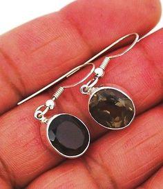 smoky quartz earrings silver 925 sterling jewelry natural gemstone handmade 4g