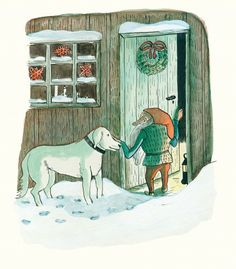 The Tomten by Astrid Lindgren and Kitty Crowther。In England it is a long, well established fact that the person who delivers our presents is a benevolent, if sometimes grumpy old man called Father Christmas. Americans have their jolly pant… Father Christmas, Christmas Art, Children's Book Illustration, Illustrations, Kitty Crowther, Pippi Longstocking, Grumpy Old Men, Stories For Kids, Dog Art