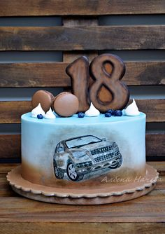 Vanilla cake with blueberry filling and hand painted Audi on wafer paper Bmw Cake, Snickers Candy Bar, Dad Birthday Cakes, Fathers Day Cake, Blue Cakes, Dessert Cake Recipes, Cakes For Men, Cake Art, Beautiful Cakes