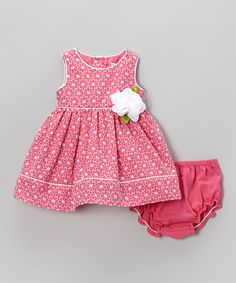 Take a look at this Pink Eyelet Dress & Diaper Cover - Infant on zulily today!