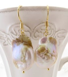 Baroque Pearl Earrings Mauve Flameball Golden Sterling Silver 925 Uk Dangle Bridesmaid Jewelry