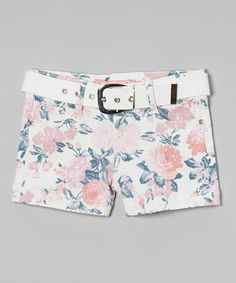 Look what I found on #zulily! Pink & Blue Floral Shorts & Belt - Girls by Cutie's Fashions #zulilyfinds