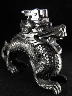 Vintage Lighter Table Top Dragon Japanese Export Burnished Metals
