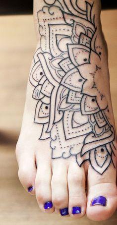 Mandala Feet Tattoo tattooideaslive.com #feet #tattoo #manadala