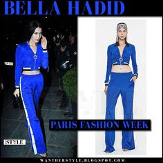 Bella Hadid in blue tracksuit trousers and blue zip up top in Paris on March 2 2017