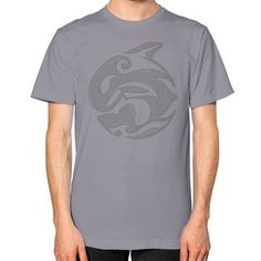 Diving Killer Whale Tattoo in Grey Unisex T-Shirt (on man)