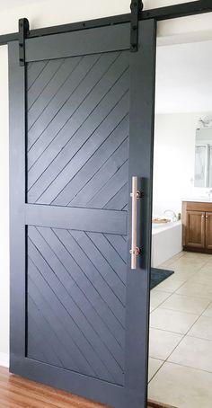 Super Home Bathroom Modern Barn Doors Ideas Barn Door Pantry, Diy Sliding Barn Door, Diy Barn Door, Bedroom Barn Door, Barn Door For Bathroom, Barn Door Closet, Diy Door, Building A Barn Door, Bathroom Doors