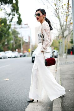 KG Street Style. White. Wide leg pant. Sheer layers. Dark lips 14