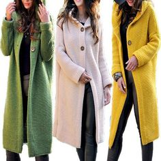 Casual Solid Color Long-Sleeve Knitting Coats, Pink / S Long Knit Cardigan, Blazer Fashion, Sweater Coats, Women's Coats, Casual Sweaters, Coats For Women, Ladies Coats, Types Of Sleeves, Long Sleeve Tops