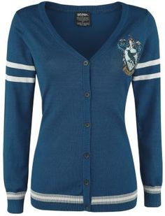 - Ladies' cardigan - Fine knit - Ravenclaw logo embroidered on left chest - Stripes on the sleeves and hem - Elastic ribbed cuffs and hem - Button placket  This 'Ravenclaw' jacket from Harry Potter will let everyone know which house you belong to! With Ravenclaw's logo displayed on the chest of the cardigan, you'll definitely be a fully fledged member who'll show the other houses who's boss!