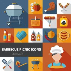 Barbecue Picnic Flat Icons Set — Vector EPS #onion #design • Available here → https://graphicriver.net/item/barbecue-picnic-flat-icons-set-/12371999?ref=pxcr