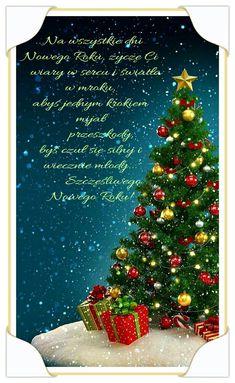 Kartka noworoczna 💟🌲🎅🍷💟🌲🎅🍷 Poinsettia, Candy Cane, December, Presents, Christmas Tree, Candles, Mugs, Holiday Decor, God