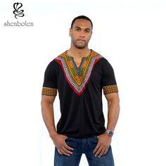 2016 mens african clothing dashiki style cotton stitching wax printing tops man T shirt  clothes kitenge Nigerian style