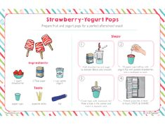 Strawberry-Yogurt Pops and Yogurt Science Kids Cooking Recipes, Cooking Classes For Kids, Cooking With Kids, Baking Kits For Kids, Easy Meals For Kids, Kids Meals, Summer Snacks, Print Print, Afternoon Snacks