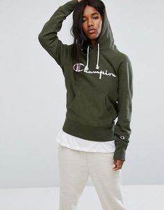 Champion Pull Over Hoodie With Front Logo - Green