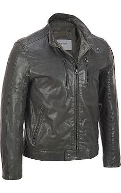 Marc New York Leather Jacket w/ Vertical Double Chest Pockets - #WilsonsLeather #LeatherJacket