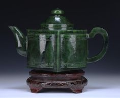 A Nephrite Jade Carved Teapot With AIGL Certificate