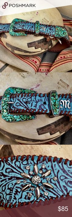 "Turquoise Buckle Crystals 'n Tooled Leather Belt Gorgeous! A Spectacular Accessory to ""Pump up the volume"" on any BoHo or Western outfit! It's fabulous with a Black Tunic & Maxi/ Broom Skirt or leggings/skinny jeans & a long sweater! Pull on your favorite Boots & you are ready to go!!💃🏻👖👢Handcrafted of natural full grain leather, 2.25"" at the widest, 1.25"" at the narrowest. Holes run every inch, 36""-40"", Crystals are full bezel set, secure & smooth on back, comes with xtra stones, NWT…"