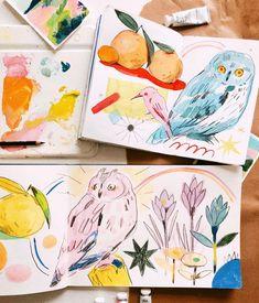 Painting Inspiration, Art Inspo, Easy Watercolor, Simple Art, Creature Design, Art Sketchbook, Beautiful Paintings, Gouache, Cute Art