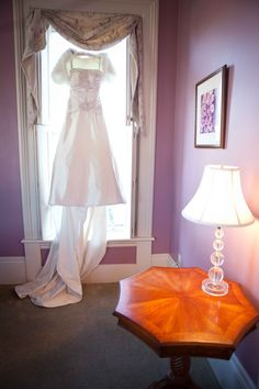 Fall wedding gown with fur bolero from Amy & David's modern, Chinese-American Virginia wedding by Aubrey's Photography