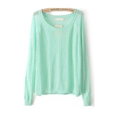 Cable Knit Hollow Green Sweater (€16) ❤ liked on Polyvore featuring tops, sweaters, green, green sweater, green top, cable pullover, cable knit sweater and pullover sweater