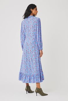 Anouk Dress | Ghost.co.uk Spirit Clothing, Fabric Covered Button, Crepe Fabric, Simple Style, Ruffles, Feminine, Shirt Dress, Floral, Pretty