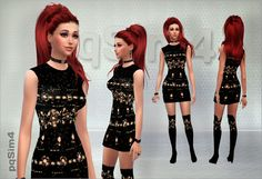 Set of dress and boots at pqSims4 via Sims 4 Updates