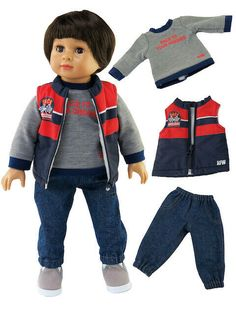 """Sweater And Jean 3 Pc Pant Set Fits 18/"""" American Boy or Girl Doll Clothes"""