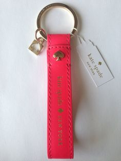Amazon.com: Kate Spade Logo Leather Key Loop Keychain Hot Rose: Clothing