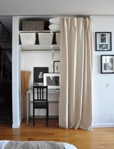 Swap the guest bedroom with massage room and set up an office and linen storage in the closet. Voila! :o)