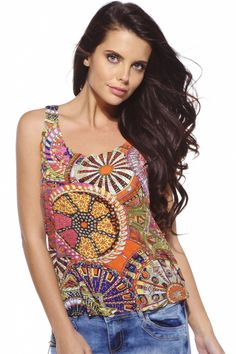 Funky Circle Printed Vest for £7.99