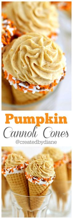 pumpkin cannoli cones recipe from /createdbydiane/