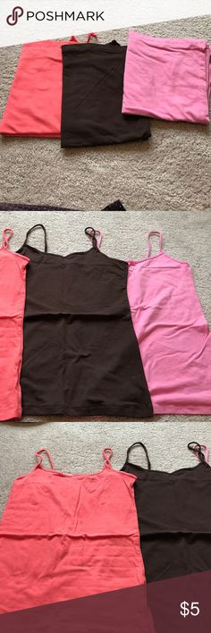 Selling this 3 Camisoles: coral, brown, and light pink on Poshmark! My username is: samanthadawn24. #shopmycloset #poshmark #fashion #shopping #style #forsale #No Boundaries #Tops