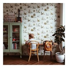 patterned wallpaper in children's room