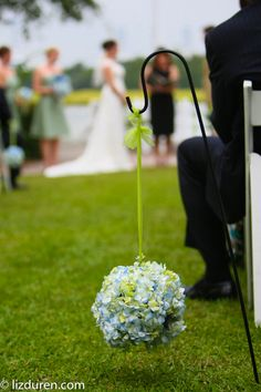 Blue Hydrangea Pomander Ball  JW Weddings and Events - Charleston, SC
