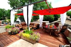 AphroChic: 6 Tips For Creating A Summer-Ready Outdoor Room - Chicago Green… Deck Canopy, Garden Canopy, Canopy Outdoor, Outdoor Rooms, Outdoor Seating, Canopy Curtains, White Curtains, Outdoor Sectional, Outdoor Dining