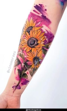 Cover Up Tattoos For Women, Hand Tattoos For Girls, Wrist Tattoos For Women, Sunflower Tattoo Sleeve, Sunflower Tattoo Small, Sunflower Tattoos, Watercolor Sunflower Tattoo, Half Sleeve Tattoos Forearm, Leg Sleeve Tattoo