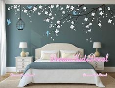 Tree wall Decal Wall Sticker Baby Nursery Decals Girls Room Decal-Cherry Blossoms Tree Tree wall Decal Wall Sticker Baby Nursery Decals by DreamKidsDecal Wall Painting Decor, Room Wall Decor, Bedroom Decor, Wall Art, Nursery Decals Girl, Wall Decals For Bedroom, Nursery Room, Decals For Walls, Tree Decal Nursery