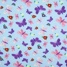 Kinderstoff Jersey - Schmetterling Mit Blume Hellblau