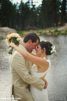 Lake Tahoe Wedding at The Hideout - Kirkwood, CA | by Emily Heizer Photography First Look by the Lake