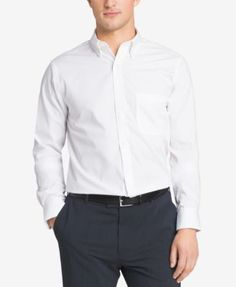 Van Heusen Classic-Fit Easy Care Pinpoint Oxford Dress Shirt - White 18.5 36/37