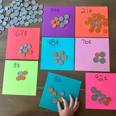 "💰 A fun counting activity from @chasing40toes using our Money Play Set! #CountlessWaysToPlay 👇  ""Money is such a great way to explore math! Once your children can identify coins and their value they can use them to work on their problem solving as well as addition, multiplication, and skip counting. I set up this very simple activity using our #MelissaAndDougToys play money and colored paper. ""   #PowerofPlay #MelissaandDoug #toddleractivities #learningthroughplay #playmoney #mathskills Counting Activities, Educational Activities, Toddler Activities, Play Money, Skip Counting, Math Numbers, First Grade Math, Learning Through Play, Math Skills"