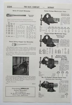 1950's Ad Print Parker Machinists Bench Vises H1 | eBay