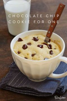 Chocolate-Chip Cookie for One via Sometimes in life, you crave a gooey, warm chocolate-chip cookie. And sometimes you don't want to make an entire batch. (Who needs to be tempted by a dozen (Mug Recipes Dessert) Chocolate Chip Mug Cookie, Cookie In A Mug, Chocolate Chips, Cookie For One Recipe, Mug Cookie Recipes, Chocolate Cake, Single Cookie, Brownie In A Mug, Baking Chocolate
