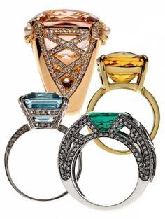 Chaumet ring diamond Aquamarine emerald kunzite