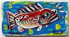 FUNky RED FISH Original Wood Painting Whimsical Raw Brut Outsider Folk Art RWJR