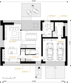Modny III - dom parterowy z poddaszem użytkowym i garażem   doomo Barn House Plans, Modern Farmhouse Exterior, Architect House, Prefab Homes, House Layouts, Next At Home, Planer, Floor Plans, Construction