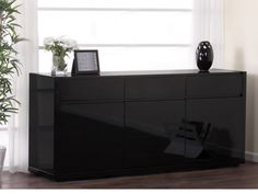 Fino Contemporary Gloss Black 3 Door Sideboard With 3 Drawers And ...