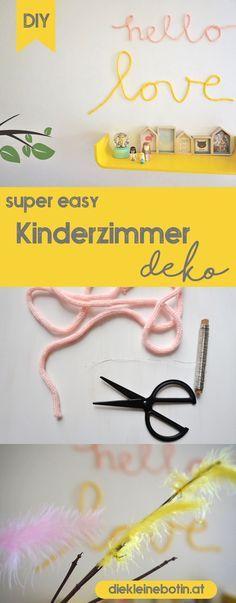 Mit dieser einfachen DIY Idee kommt der Frühling ins Kinderzimmer! Stricklieselschnüre werden zu Deinen Worten!  Kreativ und wunderschön.