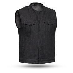 Find First Mfg Co Haywood Men's Roll Collar Club Style Vest (Black, Medium) online. Shop the latest collection of First Mfg Co Haywood Men's Roll Collar Club Style Vest (Black, Medium) from the popular stores - all in one Black Denim Vest, Denim Vests, Raw Denim, Men's Denim, Leather Biker Vest, Motorcycle Vest, Club Style, Concealed Carry, Outdoor Outfit